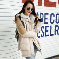 2015 new medium-long down coat women plus size slim thickening loose white duck down winter patchwork parkas