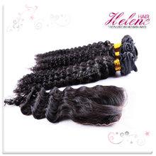 Helene Hair Peruvian Deep Wave Lace closure with Human Hair Bundle Unprocess Cheap 6A Peruvian Virgin Hair Extension Free Ship(China (Mainland))