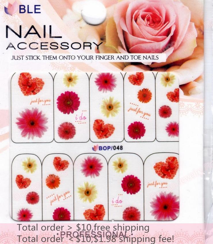 Min order $10 Nail Art 20Sheets/Lot 10 Designs Heart Box/Flower Nail Sticker 3D Glitter Powder Nail Water Transfer Decal BOP048(China (Mainland))