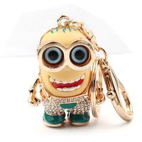 New 68*24mm Cartoon Despicable Me Key Chain Gold Plated Smile Face Rhinstone Alloy Keychain Women Handbag Charm Pendant