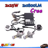1set 2x25W  H4 led headlights car H8 H9 H10 9005 9006 HB4 H3 H1 LED headlight headlamp bulbs 1800LM CREE