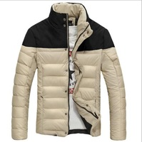 New 2015 Men Winter Cotton Padded Jacket Warm Overcoat Parka Red Black Blue Beige Causal Clothes Luxury Stand Collar Coat M-3XL