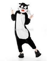 Animal cos black fox Pajamas Adult Women Men Flannel fleece hoodie Onesie Costume christmas clothes Halloween sleepsuit dress