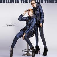 Hot Selling Europe Fashion Royal 2014 Asymmetrical Design Hooded  Blue  Down Jacket Free Shipping  F16601