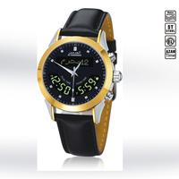 Islamic Stainless Steel Waterproof Dual Time Dual Language Azan Wrist Watch Prayer Watch Leather Wristband /HA-6102BK