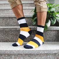 1Lot=5pairs=10pcs Autumn and winter men's sports socks striped socks entire male deodorant sweat socks