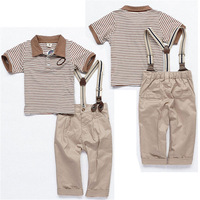Handsome Boy Fashion  Baby Boy Toddler Clothes Tops+Pants+Braces 3Pcs Gentleman Outfits Sets 9M-5Y New Free Shipping