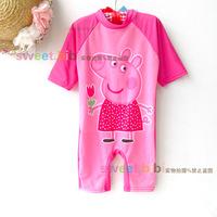 Sunscreen for children swimwear girls surfing children PP cute pink pig piece bathing suits