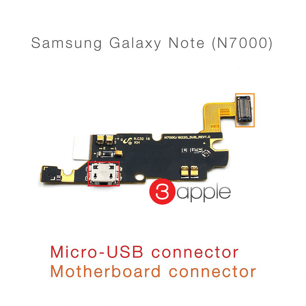 100% original cell phone parts Flex Cable For samsung galaxy note n7000 micro usb charging port connector motherboard flex cable(China (Mainland))