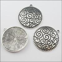YBB Wholesale 45x48mm Zinc alloy Antiqued Tibetan Silver Hollow Flower Charms Metal Round Pendants LY574