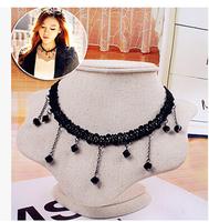 Hot Sale Tattoo Choker Necklace Black Acrylic Beads Tassel Necklaces Gothic Jewelry Cheap Velvet Choker Wholesale Retail PN021