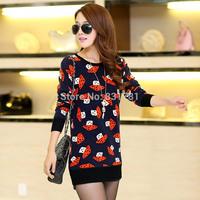 Winter Thick Pullover Sweater lined with Fleece Very Warm  Medium Long Women Lady Basic Sweater Slim Orange Mushroom Printed