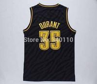 Oklahoma City OKC #35 Kevin Durant Basketball Jersey Fashion swing black gold cheap Authentic mens Jerseys Free Shipping