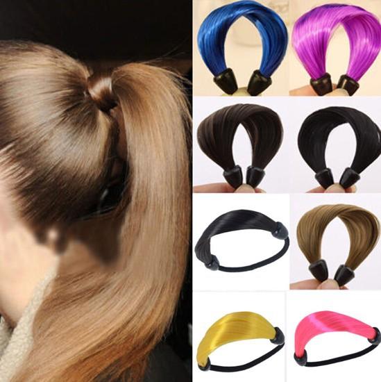 Fashion Elastic Scrunchie Ponytail Holder Womens Braid/Straight Wig Hair Band Rope(China (Mainland))