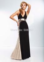 White halter elegant long formal evening dresses with stones bg_95044