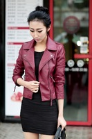 2014 Female Korean winter Slim short Diagonal Zipper outerwear coats women leather jacket motorcycle clothing pu leather jacket