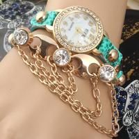 New Arrive Fashion Vintage Winding bracelet watches,Women Hand catenary Dress Watches Rhinestone Quartz Wristwatch