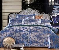 Home Textile luxury Blue silk Jacquard Floral designer's beddings set wedding decoration bed sheet/duvet cover set king/queen
