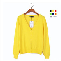 Fashion Spring Autumn Ladies Knitted Sweater Long Sleeve Tops Clothes Deep V-neck Single Breasted Women Cardigans Outerwear Coat