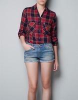 2014 New Women High Street Turn Down Collar Cotton Plaid Print Shirts Ladies camisa xadrez Rivet Blouse Casual Top
