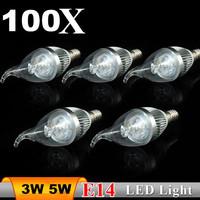100pcs/lot E14 3W 5W 85-265V led candle light Bulb,300LM,Cool white;led lamp free shipping