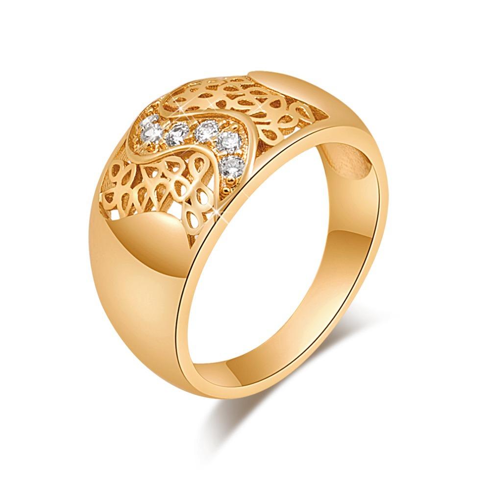 J1722 atacado 2015 nova moda requintada jóia 18 k banhado a ouro anel Inlay presente para as mulheres / homens tamanho 7 8(China (Mainland))