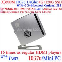 Thin Client Mini Desktop Computer X3900M with Intel Celeron 1037u Dual Core 1.8Ghz for Bank Hospital ADs KTV 4G RAM 120G SSD