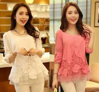 New 2015 Women Lace Blouses  Hollow Flower Crochet Lace Renda Blusa Tenda Chiffon Blouses Tops Clothing Roupas Femininas