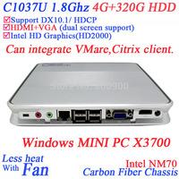 INCTEL powerful HD mini pc computer with Intel Celeron 1037u X3700 dual core 1.8Ghz 1080P HDMI 4G RAM 320G HDD Windows Linux