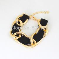 2015 Thick Chunky Gold Chain  Bracelet  Felt Rope Wrapped Bracelets statement trendy jewelry KK-SC760