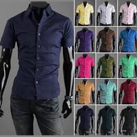 Free Shipping 2014 Mens Slim fit Unique neckline stylish Dress short Sleeve Shirts Mens dress shirts 17colors ,size: M-XXXL 6537