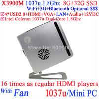 Small PC Computer Cloud Terminal X3900M with Intel Celeron 1037u Dual Core 1.8Ghz for Bank Hospital ADs KTV 8G RAM 32G SSD
