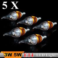 5X Wholesales Price 3W 5W 220V 110V-240V E14 LED Candle Bulb Light  Warm White High Brightness Free Shipping CE