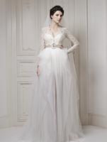 New Arrival V Neck Long Sleeve Embroidery Lace Sheath Wedding Dress 2015 ATL32 vestido de noiva renda