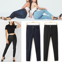 Arrivals American Apparel AA Street Winter Fashion Woman's Retro Plus Velvet High Waist Denim Jeans Pencil Skinny Pants Trousers