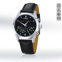 Islamic Stainless Steel Waterproof Dual Time Dual Language Azan Wrist Watch Prayer Watch Leather Wristband /HA-6102BL