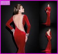 2015 High Neck Open Back Red Beading Long Sleeves Evening Dresses 2014 Crystal Mermaid Evening Gown China Tarik Ediz 2015 WY-013