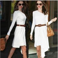 New Designer Fashion Long Sleeve Women Dress White Iregular Cocktail Party Dress  Plus Size Send Belt Freeshipping Slim   WZA453