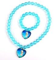 Retail wholesale Frozen necklace + bracelet jewelry set,colorful Chunky bubblegum beads Elsa Anna girls necklace & bracelet