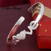 High Quality 925 Silver Bracelet Bangle Cuff Fashion Jewelry,Love Heart Bangle ,Free shipping
