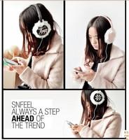 1 piece 2015 new winter Fashion Love heart deer Snowflake Fawn Plush Music headphones wire Plush Ears warm Earmuffs