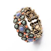 New Elastic Vintage Jewelry Magnetic Fashion Women Alloy Bracelets Flower Charm Handmade Bangles
