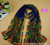 2014 New fashion women long chiffon ethnic style print scarves form india Spring Winter casual desigual scarf bufandas shawl