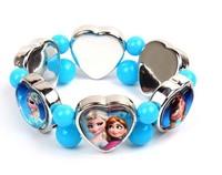 Retail wholesale Frozen kids bracelet,colorful Chunky bubblegum beads + hearthape Elsa Anna girls Stretch bracelet,Birthday gift