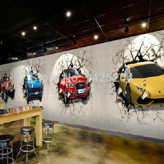 Car Wall Mural Wallpaper Custom 3d Car Broken Wall