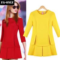 Spring New Women Dress European Style Slim Solid Dress Free Shipping c1340