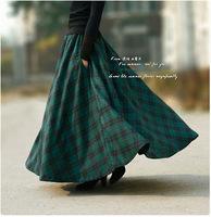 Twods 2014 autumn winter vintage plaid skirt women's slim long wool skirt 5XL plus size woolen skirt maxi long