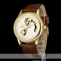Luxury Gold Men's Mechanical Steampunk Skeleton Hand Wind Watch Mens Dress Watches