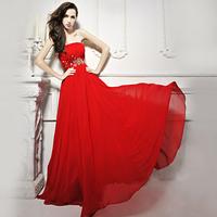 100% REAL PHOTOS strapless chiffon wedding dresses 2014 features vestido de madrinha  M32