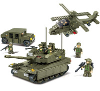 Model Army Troops Educational Toys Tank+Hummer+Helicopter+6 Soldiers Bricks Building Block Toy Compatible With Lego Blocks